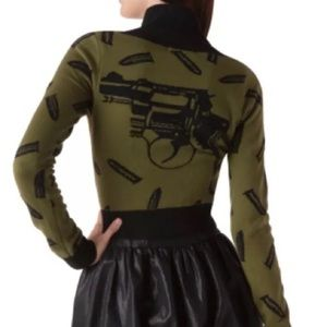 Vintage Army/Olive Gun/Bullet Cardigan Crop New